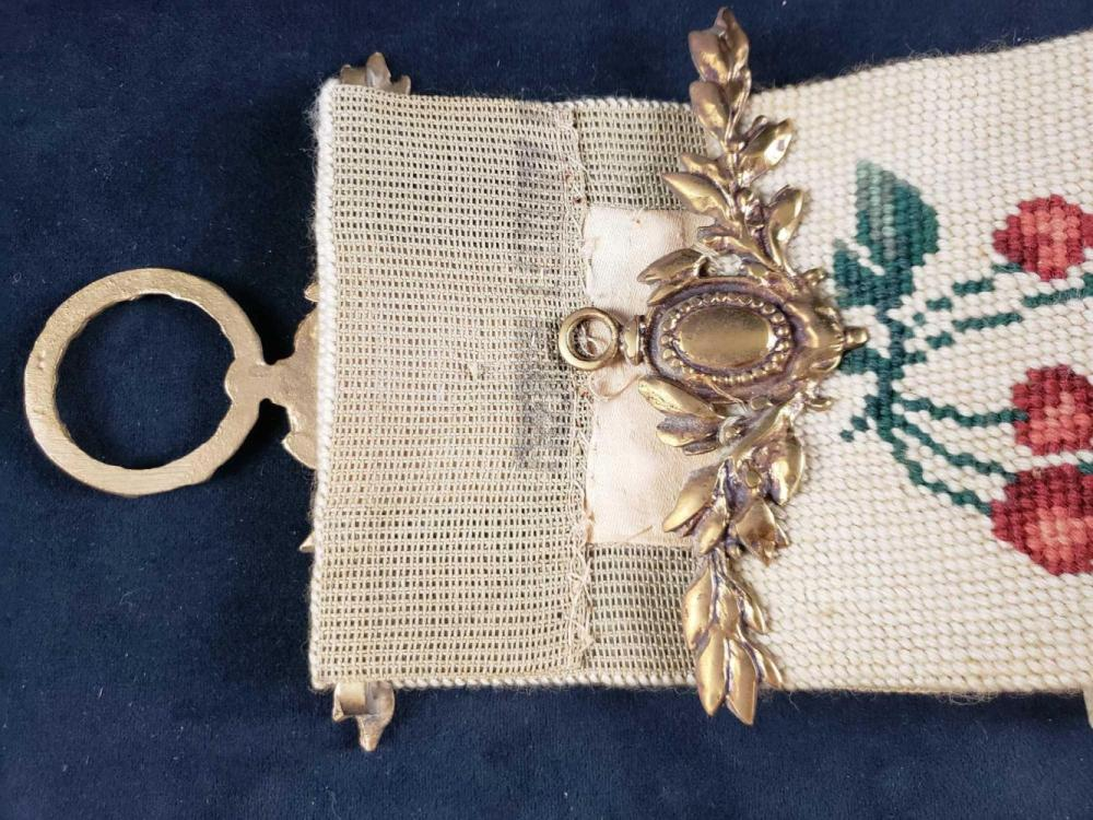 Lot 826: Floral and Fruit Needlepoint Table Runner