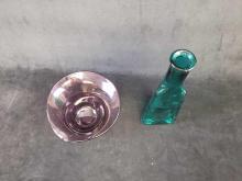 Lot 840: Unique Colored Glass Bottle and Decorative Bowl