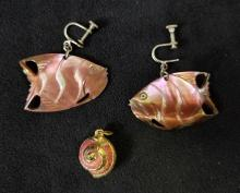 Lot 851: Unique Irirdescent Shell Fish Earrings and Shell Charm