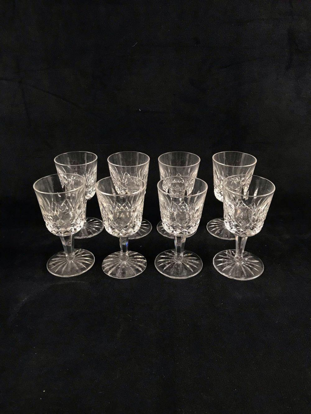 Lot 483: 8 Signed Waterford Crystal Lismore Cordial Glasses