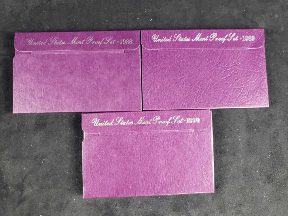 Lot 485: 3 United States Mint Proof Sets 1988 1989 1990 D