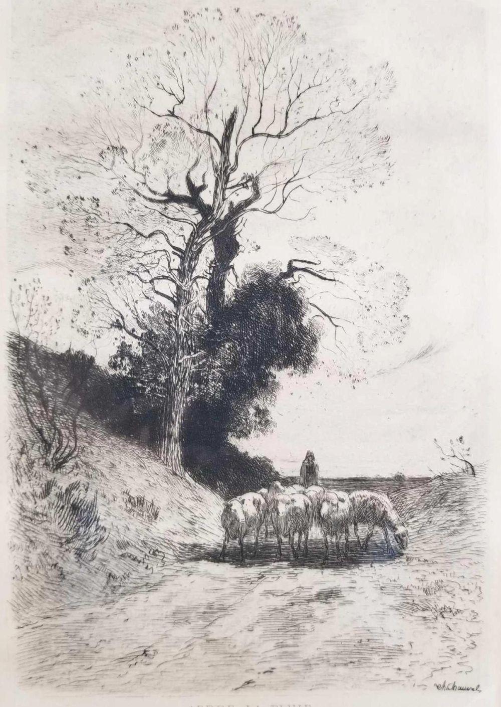Lot 499: Theophile Navasse Chauvel Apres la Pluie Etching Art