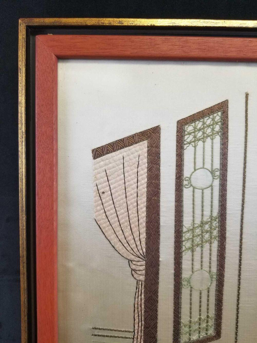 Lot 500: Hand Embroidered Tapestry on Silk