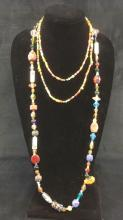Lot 511: Two Colorful Handmade Glass and Ceramic Beaded Necklaces