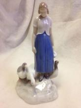 Lot 521: Vintage Bing & Grondahl Girl with Geese ceramic figure