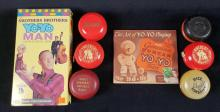 Lot 531: Lot of 6 Vintage Yoyos and Instructional Materials