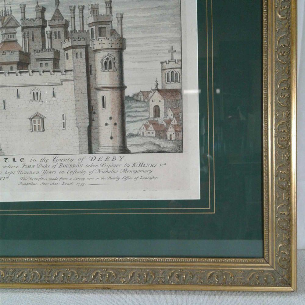 """Lot 542: Architectural """"Melborn Castle"""" Hand Colored Engraving, Certified Original"""