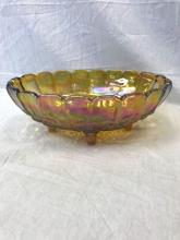 Lot 544: Vintage Gold Carnival Glass Footed Fruit Bowl, Indiana Glass Company