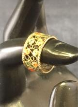 Lot 548: Gold Toned Sterling Flower Ring