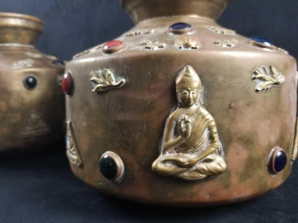 Lot 562: Set of 2 Brass Vases with Meditating Buddhas and Decorative Gems