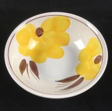 Lot 563: Maxam Hand Painted Italian Yellow Flower Bowl
