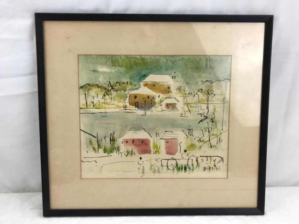 Lot 565: Original Alfred Birdsey Abstract Landscape Watercolor Painting