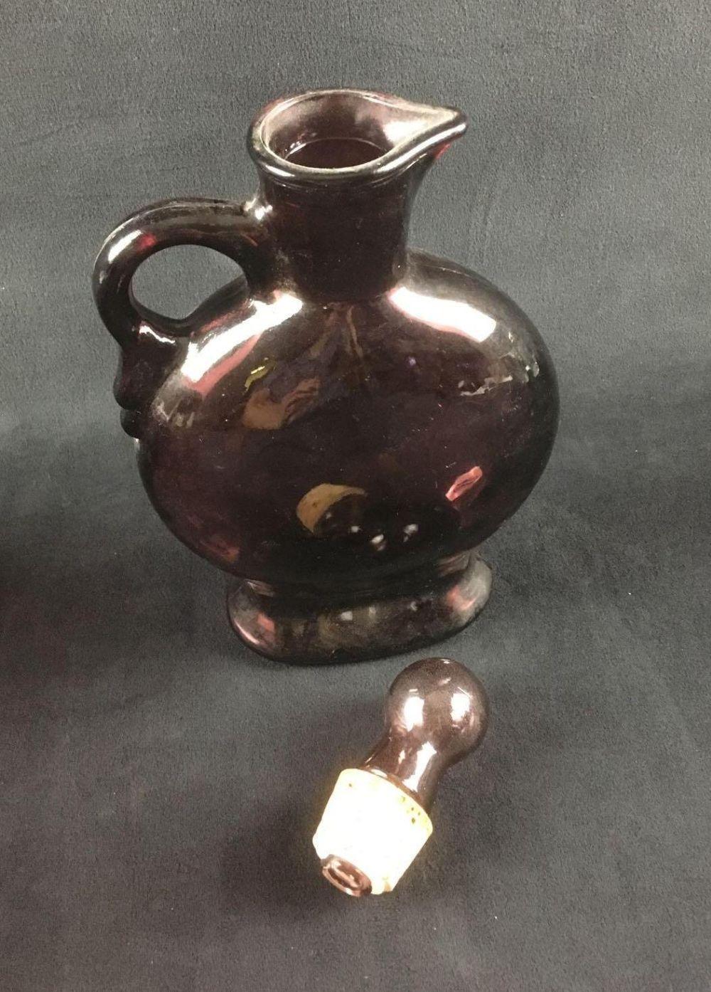 Lot 564: Wheaton Purple Glass Decanter with 6 Wavy Glass Glasses