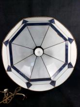 Lot 570: Tiffany Style Blue and White Stained Glass Hanging Light