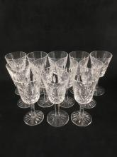 Lot 593: 12 Signed Waterford Crystal Lismore Wine Glasses