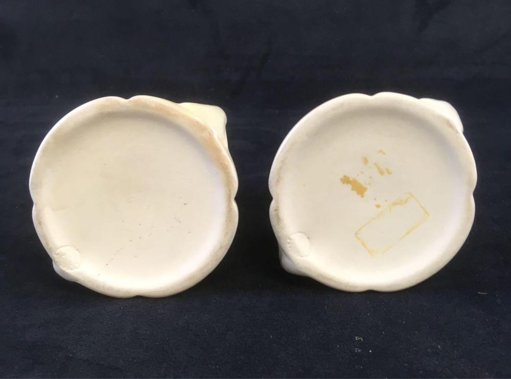Lot 595: Vintage Cowan Art Pottery Pair of Candle Holders Marked Circa 1920's