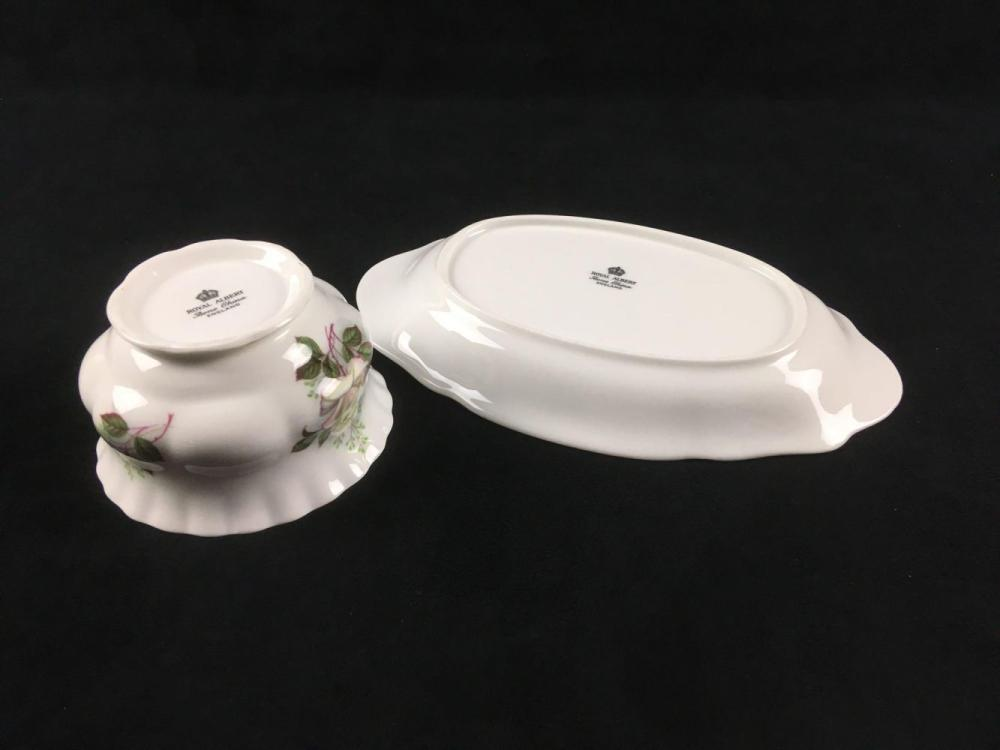 Lot 602: Royal Albert Bone China Condiment Dish and Open Sugar Bowl