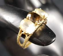 Lot 599: White Quartz and Smoky Topaz Ring with 10k Gold Band