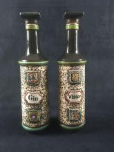 Lot 604: West German Whiskey and Gin Ceramic Decanters