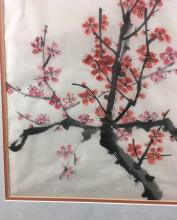 Lot 615: Sumi E Cherry Blossom Painting