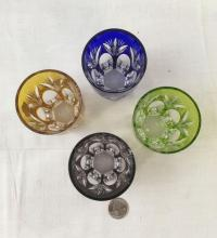 Lot 619: Vintage Bavarian Nachtmann Colored Crystal Rocks Glass Set
