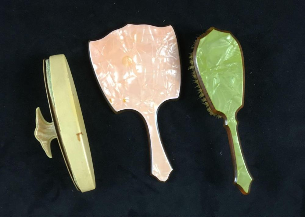 Lot 635: Vintage Celluloid Lucite Ladies Vanity 3 Piece Collection