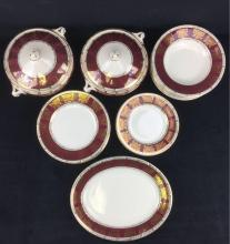 Lot 645: 22 Pieces of Fine Vintage Crown Ducal Porcelain Dinnerware in Burgundy, Marked