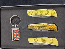 Lot 648: Confederate Heroes Pocket Knife Set in Metal Case