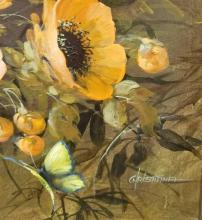 Lot 654: Red Poppies Fall Landscape Oil Painting by Christiana