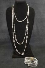 Lot 867: 3 Layered Clear Beaded Necklace with Clear Acrylic Cuff