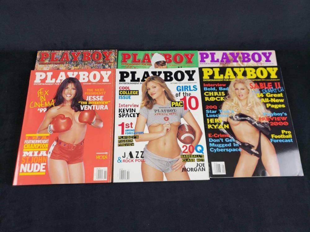 Lot 1007: Ten 1999 Playboy Magazines