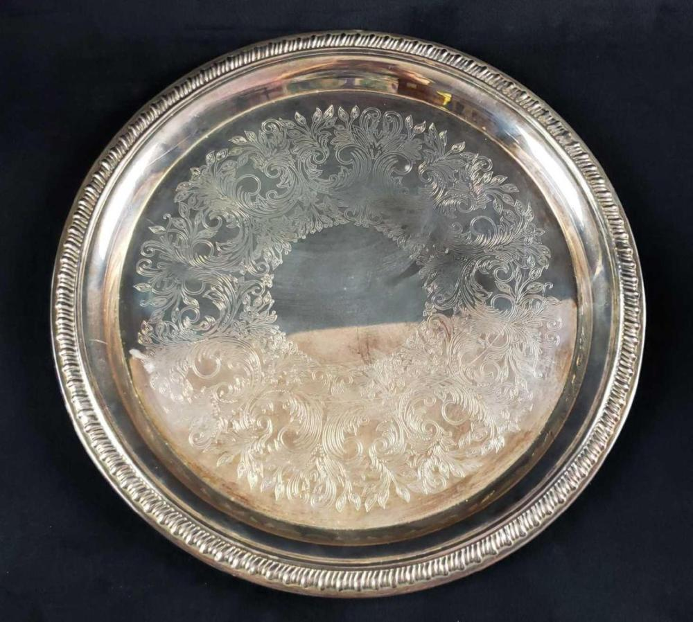 Lot 1018: Set of Silver Plated Tray and Footed Teapot