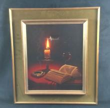 Lot 1022: Rusche Candlelight Still Life Oil On Canvas