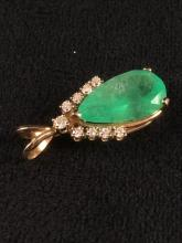Lot 1023: Pear Brilliant and Step Cut Emerald Pendant
