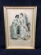 Lot 1032: Framed Antique Print from Journal des Demoiselles 1870