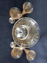 Lot 1034: Set of Hand Painted Funky Glasses and Punch Bowl