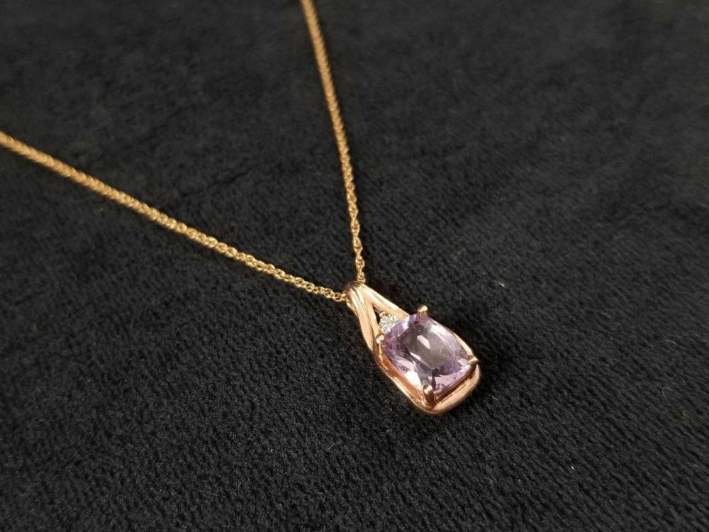 Lot 1065: 10K Gold Amethyst Necklace