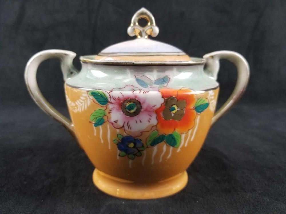Lot 1072: Vintage Floral Teapot Creamer And Sugar Bowl From Japan