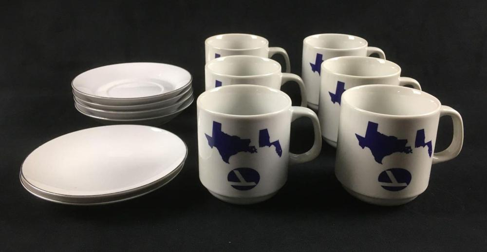 Lot 1079: 6 Eastern Airlines Mugs and 6 Small Plates