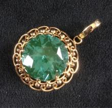 Lot 1083: Vintage 14k Gold Aquamarine Pendant
