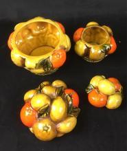 Lot 1085: Vintage Orange Spice By Inarco Fruit Basket Coffee Set