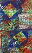 Lot 1088: Abstract Mixed Media Canvas by BA3