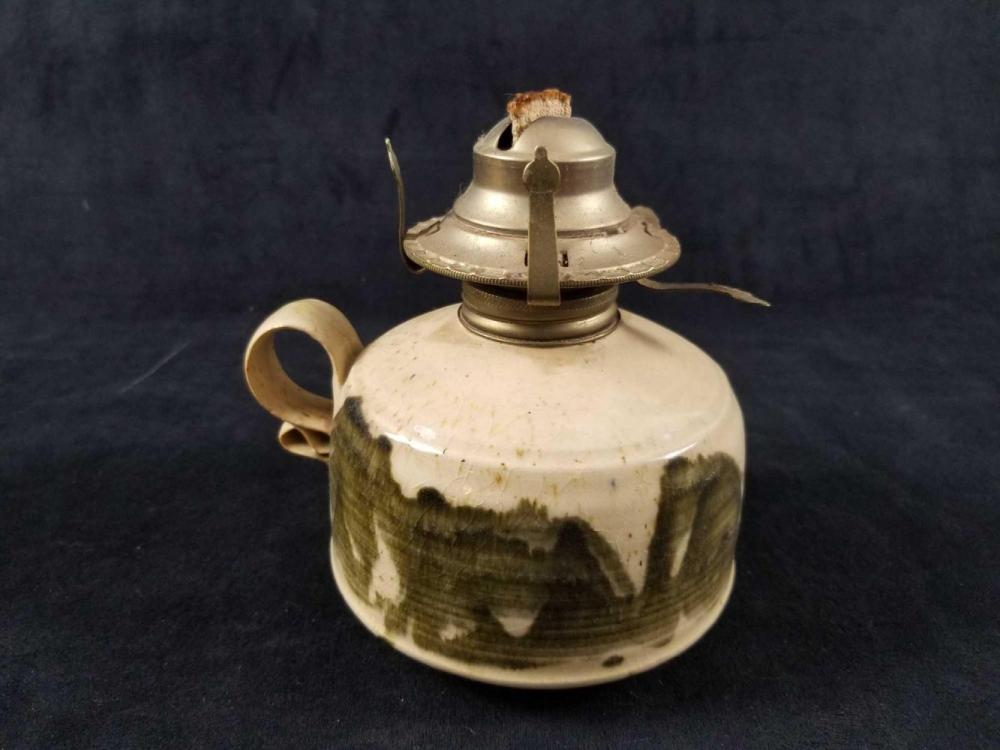 Lot 1094: Antique Oil Lamps And An Original Windlight Candle Lamp