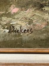 Lot 1095: Dickens Landscape with Figures Oil Painting