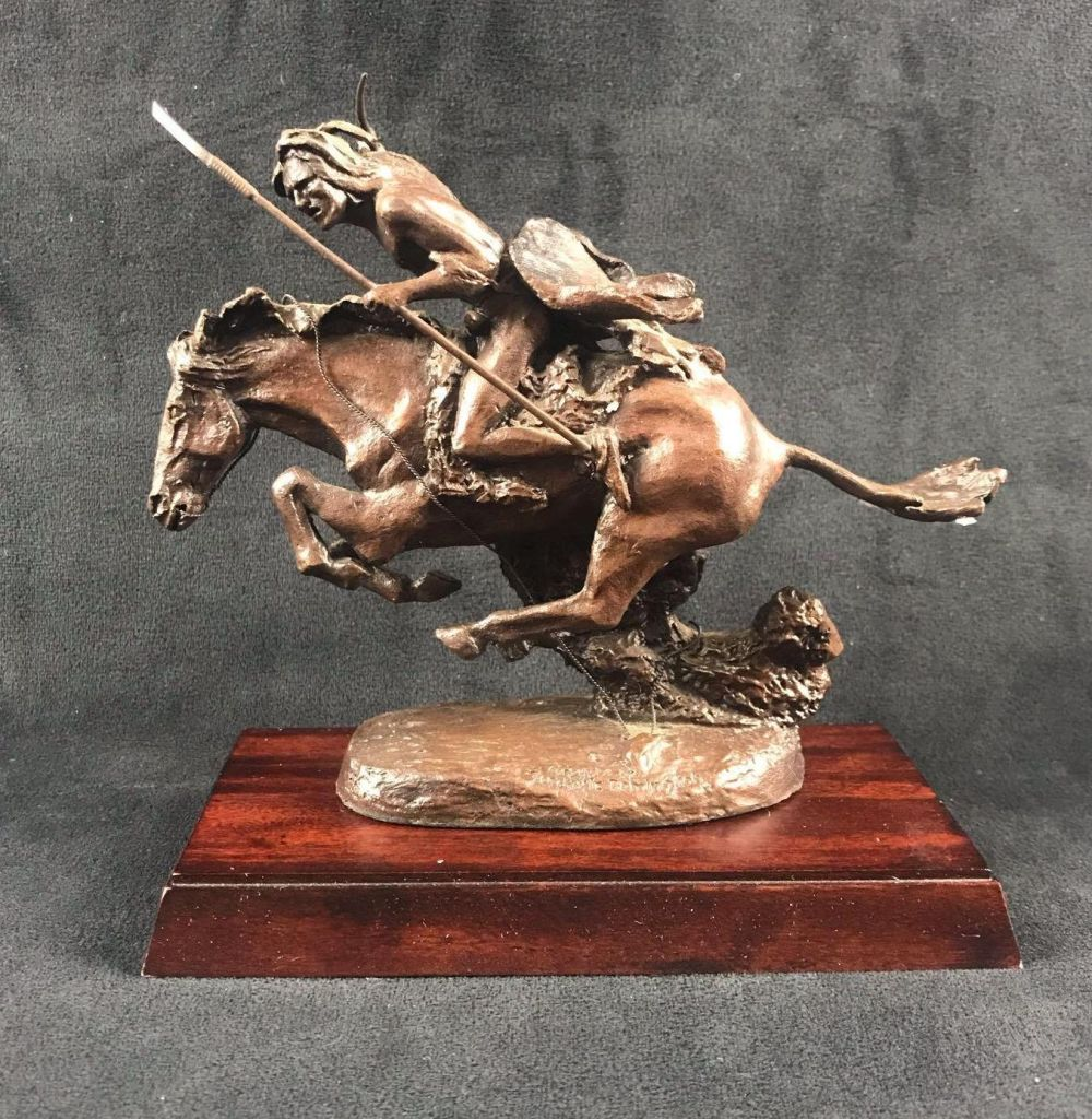 Lot 1098: Frederic Remington Franklin Mint The Cheyenne Bronze Statue with Base