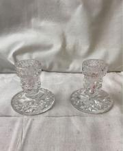 Lot 1100: Pair Of Glass Taper Candle Holders