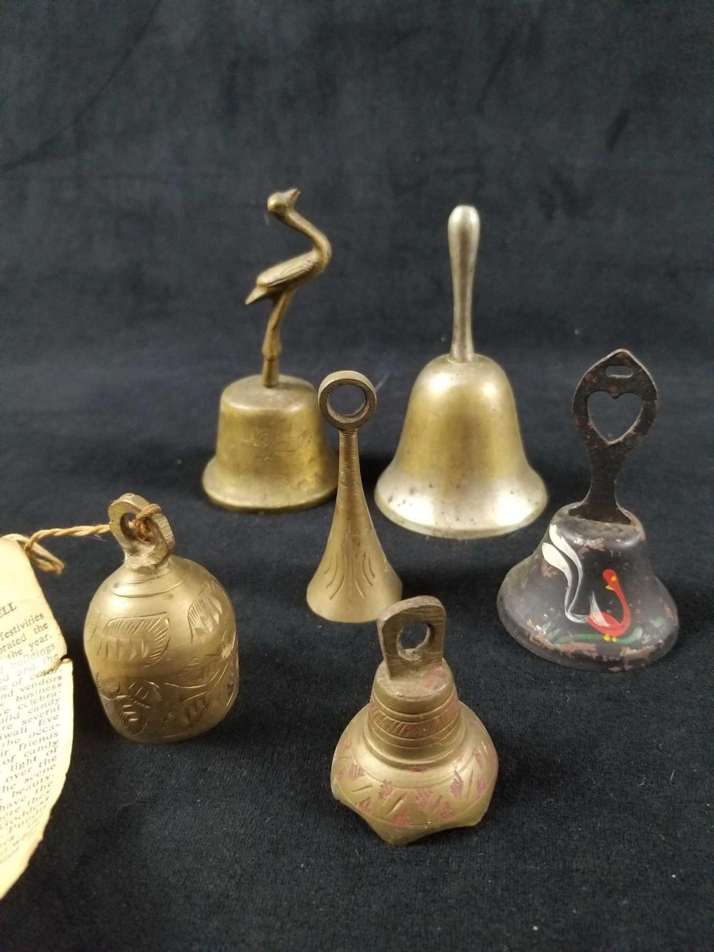 Lot 870: Lot of 19 Brass and Cast Iron Bells From India and Japan