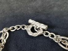 Lot 871: Necklace and Bracelet Metal Chain Link with Faux Pearl set