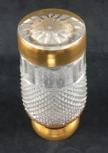 Lot 872: Diamond Cut Crystal Vase with Gold Trim