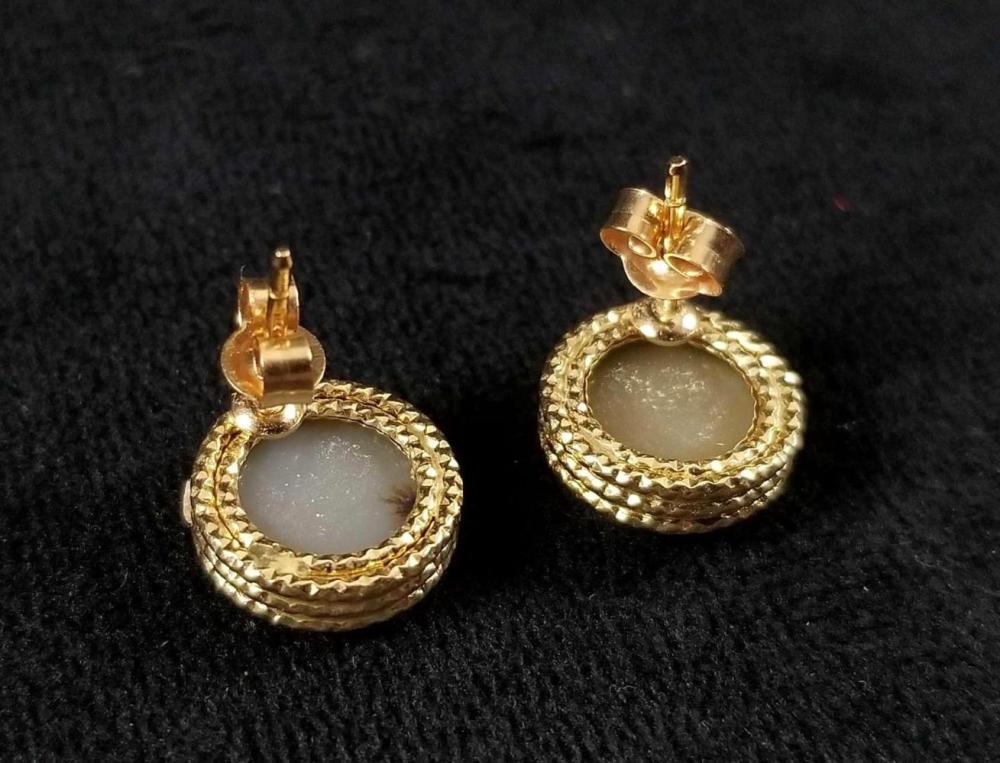 Lot 879: 14K Druzy Gemstone Earrings